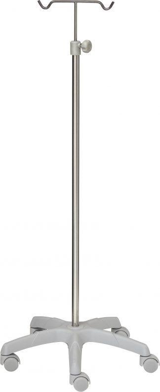 IV-pole - 2 hooks - Stainless steel - Large aluminium base