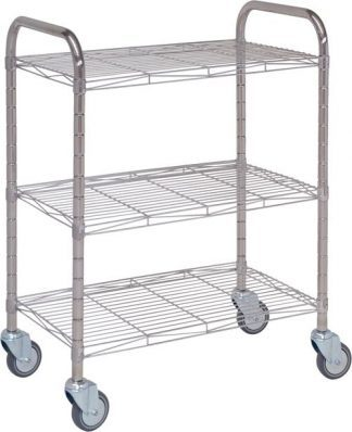 Distribition trolley made out of stainless steel - 3 shelves - 75x45x100 cm