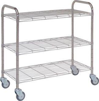 Distribition trolley made out of stainless steel - 3 shelves - 10x45x100 cm