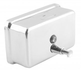 Soap dispenser with button made out of stainless steel (AISI 304) - Horisontell