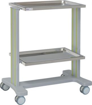 Multifunctional hospital trolley with 2 shelves made out of aluminium