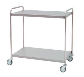 Distribition trolley made out of stainless steel - 2 shelves - 95x55x95 cm