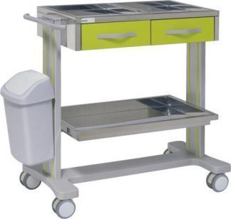 Hospital trolley with 2 shelves made out of aluminium - 2 drawers - Waste basket