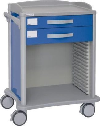 Hospital trolley - 2 drawers - Telescopic rail for ISO baskets (600x400 mm)