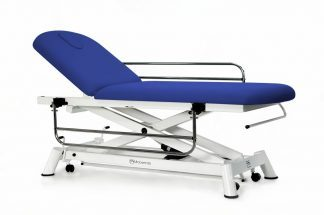 Electric treatment table - 2 sections with wheels - Side rails - Paper roll holder