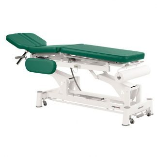 Electric treatment table - 3 sections with wheels - Paper roll holder - Central fold