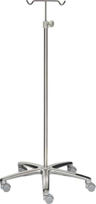 IV-pole - 2 hooks - Chromed steel (Stainless) - Grey wheels