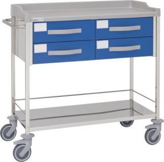 Multifunctional hospital trolley with 2 shelves - 4 drawers