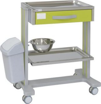 Hospital trolley with 2 shelves made out of aluminium - 1 drawer - 1 bowl - Waste basket