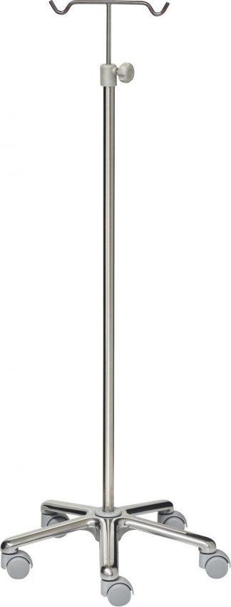 IV-pole - 2 hooks - Stainless steel - Aluminium base