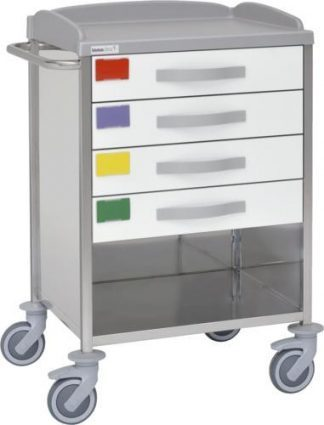Multifunctional hospital trolley with 2 shelves - 4 drawers - 3 walls