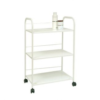 White metal trolley with three shelves