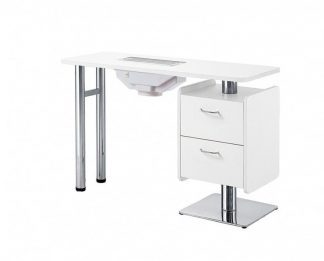 Elegant manicure table of white plywood with fan for exhaust