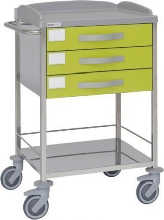 Multifunctional hospital trolley with 2 shelves - 3 drawers - Stainless steel