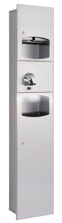 Paper tower dispenser, hand dryer (Saniflow) and waste basket