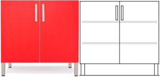 Floor cabinet - ISO-modul - 1 cabinet and 2 adjustable shelves