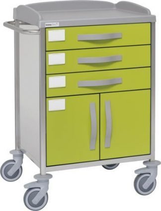Hospital trolley with 1 shelves - 3 drawers - 1 cabinet - Stainless steel