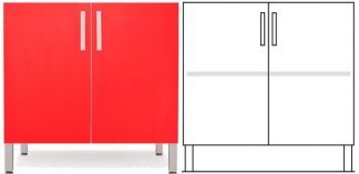 Floor cabinet - ISO-modul - 1 cabinet and 1 adjustable shelf