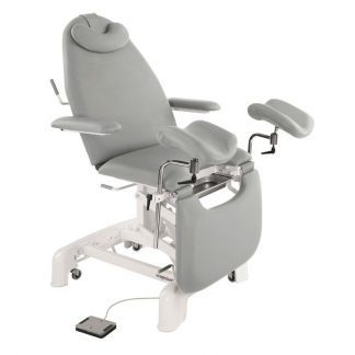 Electrical gynecological examination chair with armrests, pillow and wheels