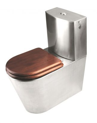 Toalett made out of stainless steel with seat made out of brown lacquered wood