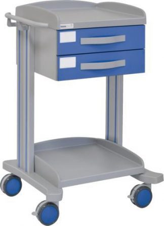 Multifunctional hospital trolley with 2 shelves - 2 drawers