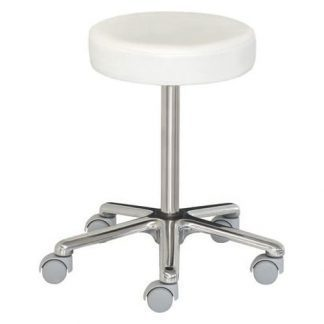 Low chair with wheels - Height adustable with screw - Aluminium base