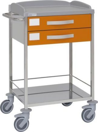 Multifunctional hospital trolley with 2 shelves - 2 drawers - Stainless steel