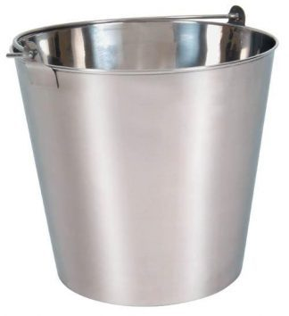 Bucket with handle made out of stainless steel