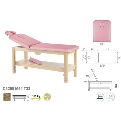 Stationary treatment table - 2 sections with wooden base - Adjustable backrest - Storage
