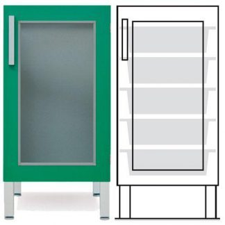 Floor cabinet - ISO-modul - 1 glass wall and 5 baskets - Telescopic rail