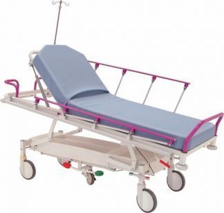 Hydraulic patient- and trauma trolley - 2 sections