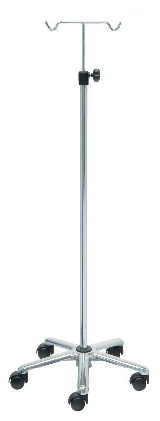IV-pole - 2 hooks - Chrome stand - Aluminium base