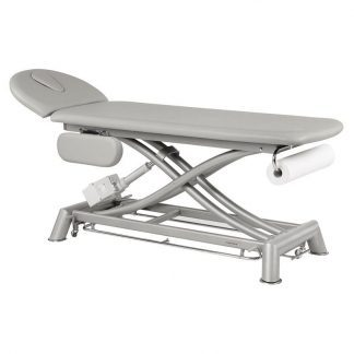 Electric treatment table - 2 sections with armrests/wheels - Scissor lift (New system)