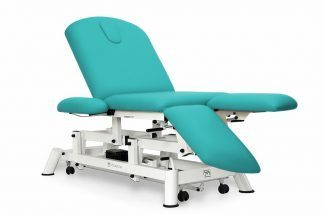 Electric treatment table - 3 sections - Individual legrests - Armrests - Wheels