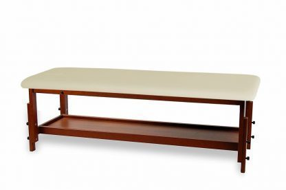 Fixed wooden treatment bed with adjustable height