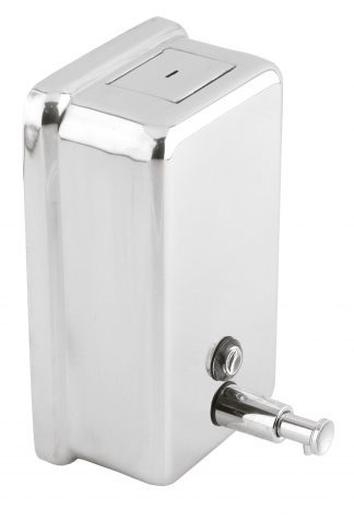 Soap dispenser with button made out of stainless steel (AISI 304) - Vertical
