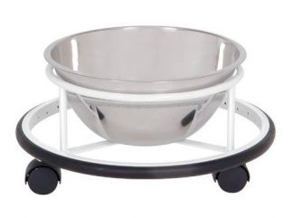 Bowl with cart on wheels for operation rooms - 8L - Support: White coated steel