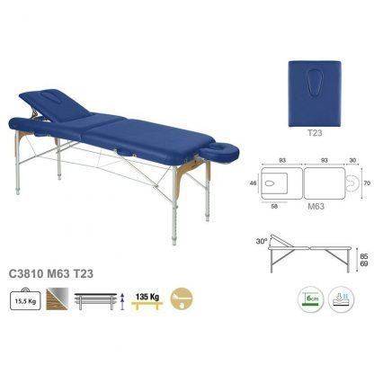 Foldable massage table - Aluminium - 2 sections - 186x70cm - Back-/face support
