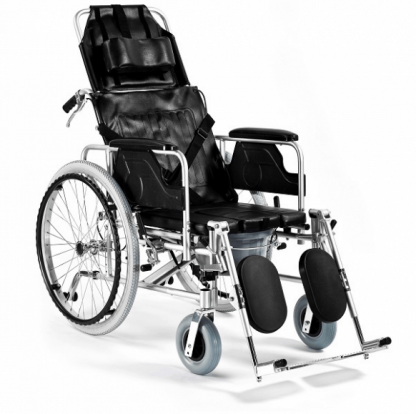 Foldable wheelchair made out of aluminium with toilet function - 4 point belt