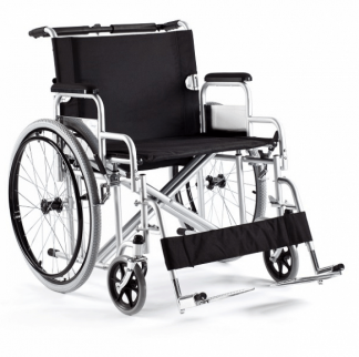 Foldable wheelchair with steel frame - Wide sitting surface
