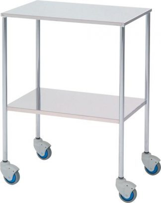 Instrument table - 2 shelves - 60x40x80 cm - Flat edges - Chromed steel