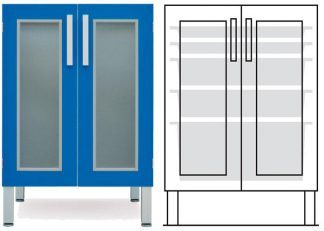Floor cabinet - ISO - 2 glass doors and 3 2 baskets - Telescopic rail