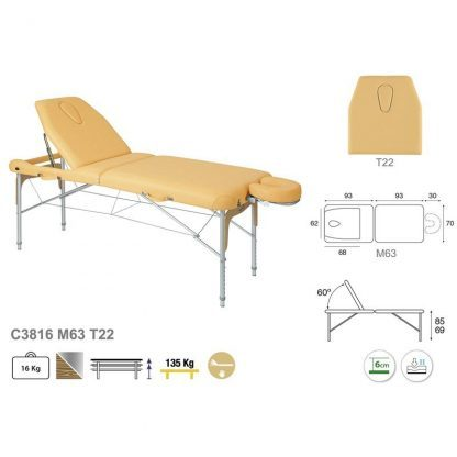 Foldable massage table (Aluminium) - 2 sections - 186x70 cm