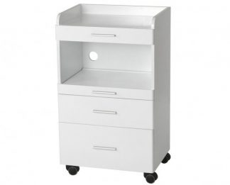 Trolley of white coated wood with 3 drawers and 2 shelves