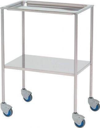 Instrument table - 2 shelves - 60x40x87 cm - Bowl shaped upper shelves