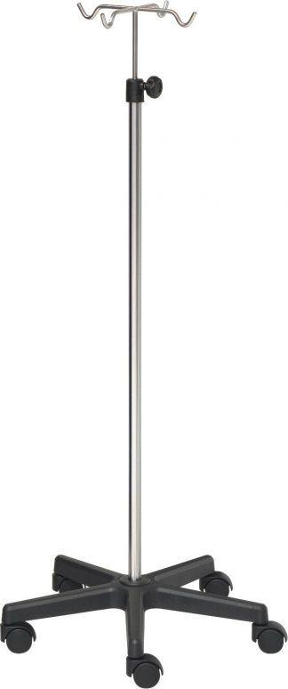 IV-pole - 4 hooks - Chrome stand - Black base
