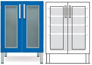 Floor cabinet - ISO - 2 glass doors and 3 1 baskets - Telescopic rail
