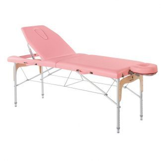 Foldable massage table (Aluminium - 2 sections - 182x70 cm - Large backrest