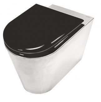 Stainless steel toilet with toilet seat in black painted wood