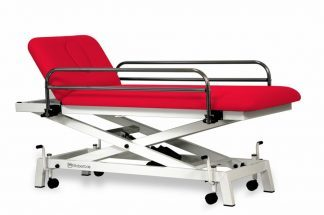 Electric treatment table for pediatric use - 2 sections - Scissor lift - Wheels